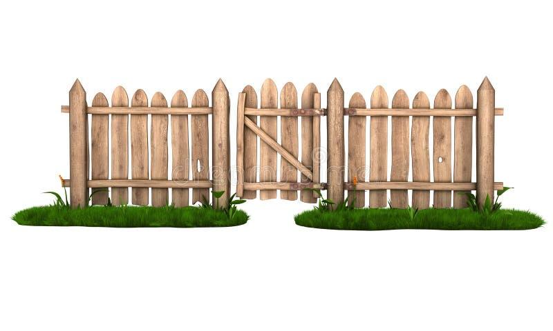 Drewniany ogrodzenie z bramą ilustracja wektor