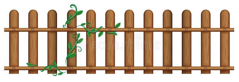 Drewniany ogrodzenie z winogradem ilustracja wektor