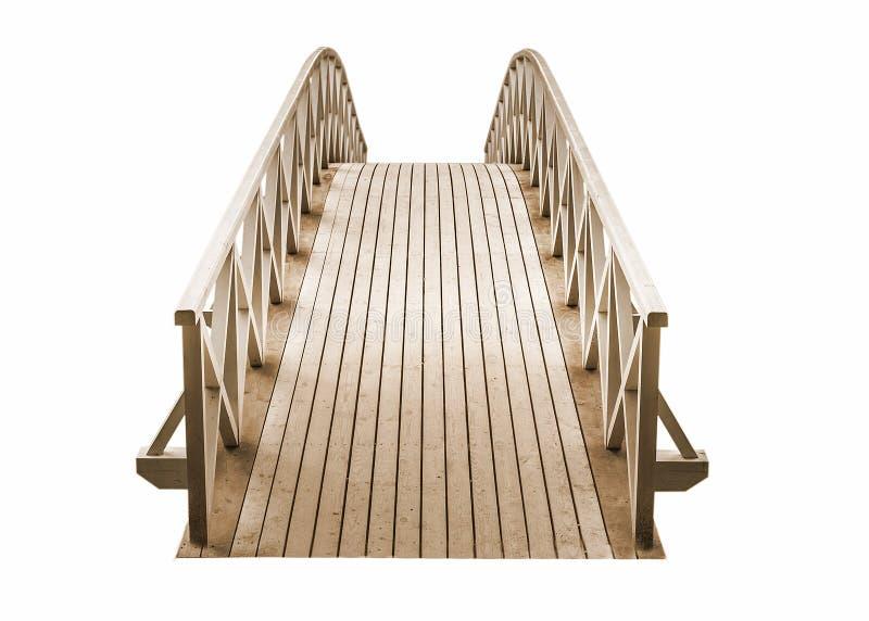 drewniany Parkowy stopa most odizolowywający na białym tle obrazy stock