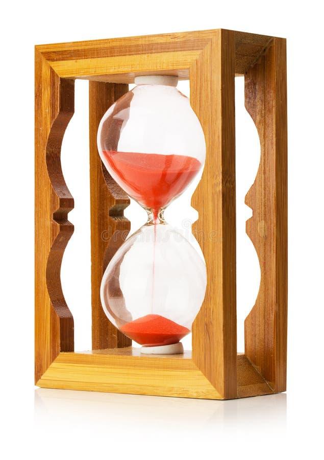Drewniany piaska zegar odizolowywający na białym tle fotografia royalty free
