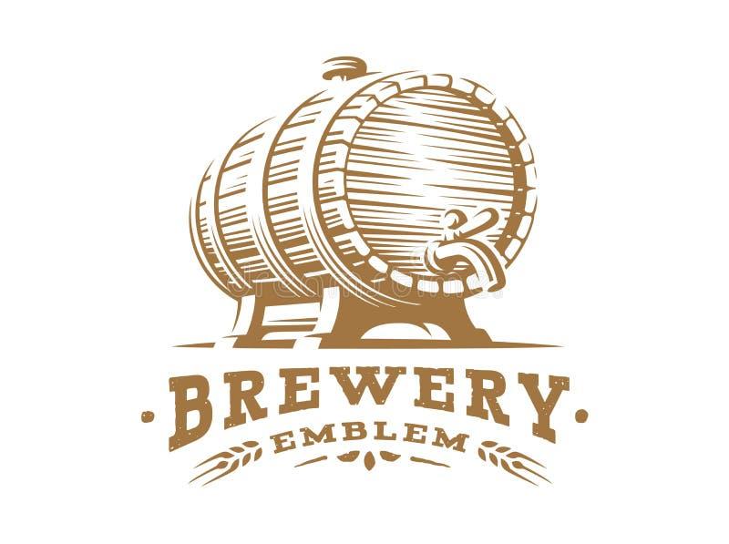 Drewniany piwnego kubka logo - wektorowa ilustracja, projekta emblemata browar royalty ilustracja