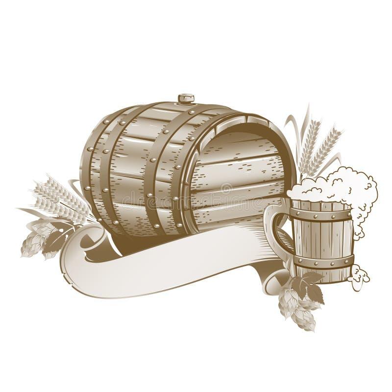Drewniany piwnej baryłki wciąż życie ilustracja wektor