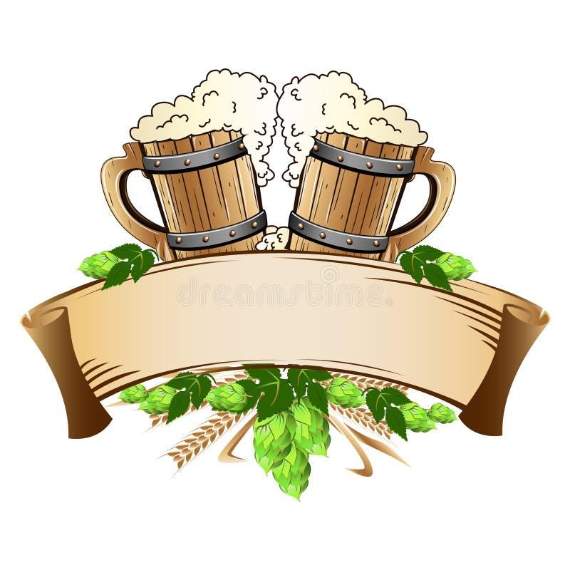 Drewniany piwnych kubków wciąż życie ilustracji