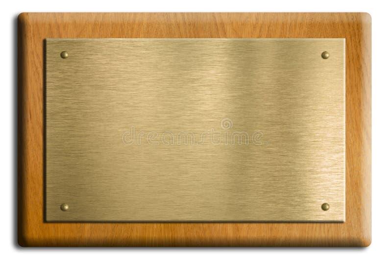 drewniany plakieta mosiężny złocisty talerz zdjęcie stock