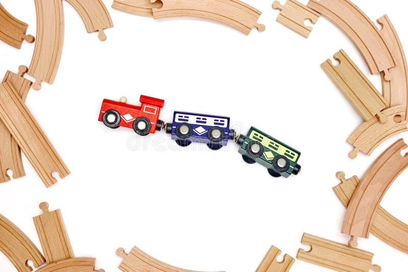 Drewniany pociągu ślad fotografia stock