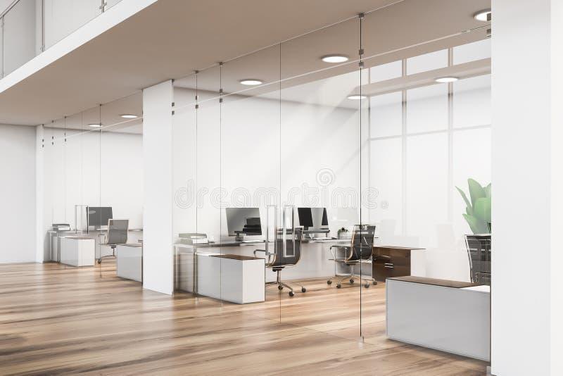 Drewniany podłogowy biuro lobby, szklane ściany ilustracja wektor