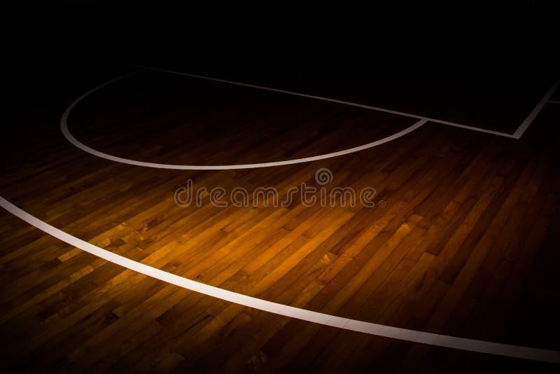 Drewniany podłogowy boisko do koszykówki zdjęcia royalty free