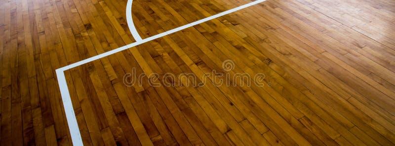 Drewniany podłogowy boisko do koszykówki fotografia royalty free