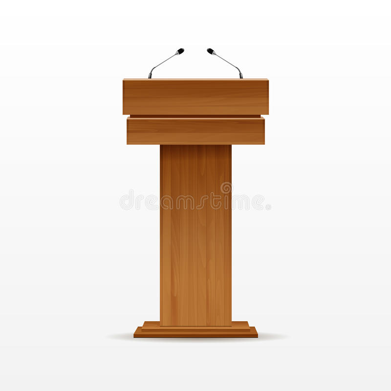Drewniany podium trybuny mównicy stojak z mikrofonem ilustracja wektor