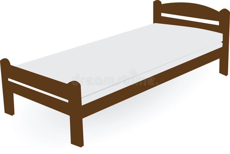 Drewniany pojedynczy łóżko zdjęcie stock