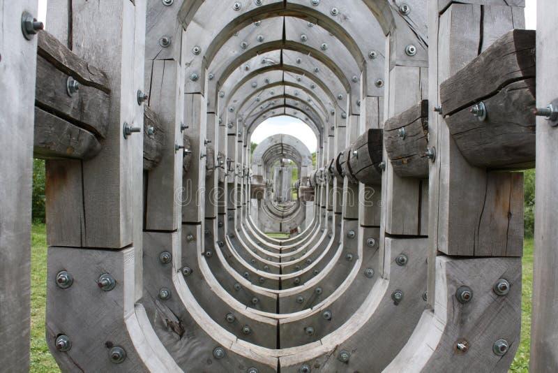 Drewniany popielaty tunel obraz stock