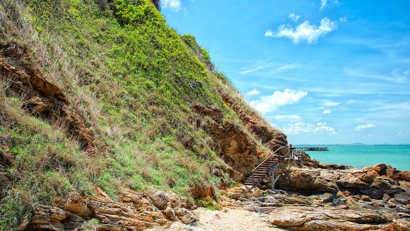 Drewniany przejście wzdłuż plaży obraz stock