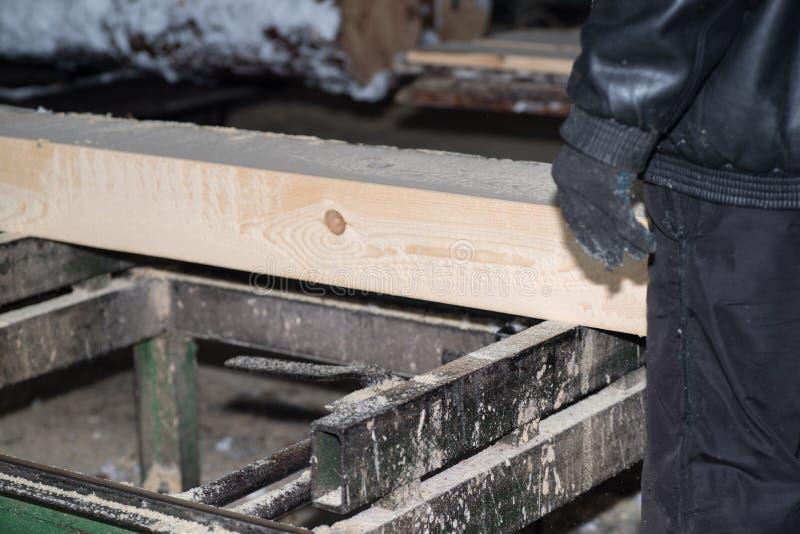 drewniany przerób Ciąć loguje się deski W zima procesie drzewo zdjęcia royalty free