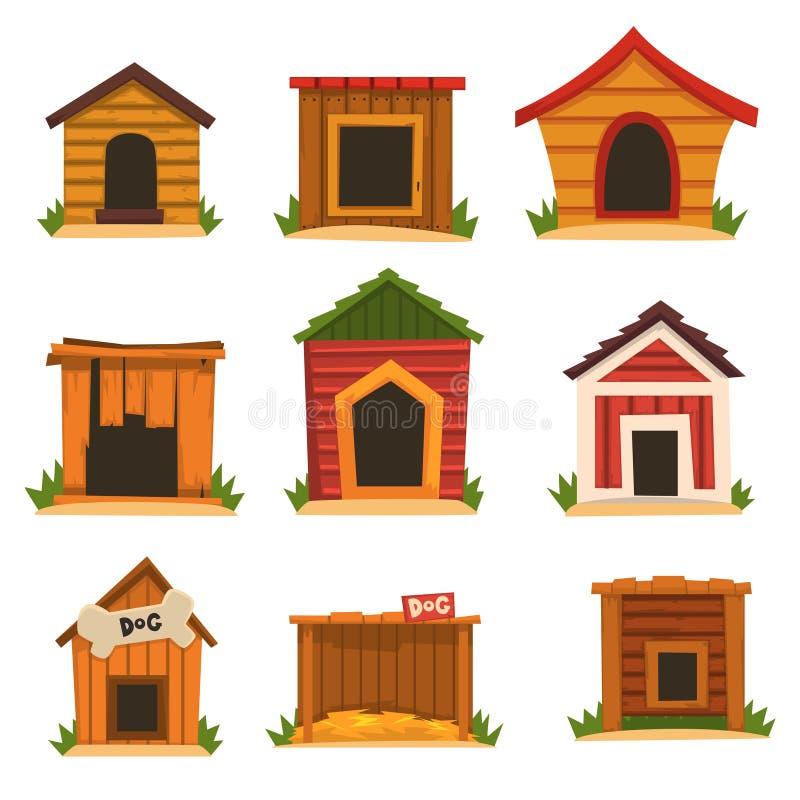 Drewniany psiego domu set, pies psiarni kreskówki wektoru ilustracje ilustracji