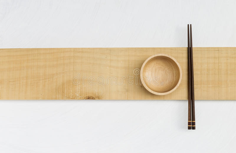 Drewniany puchar i drewniany chopstick fotografia stock
