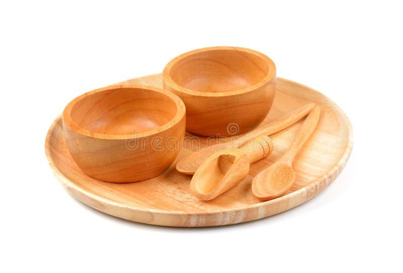 Drewniany puchar, drewniany naczynie i drewno łyżka na białym tle, zdjęcie stock