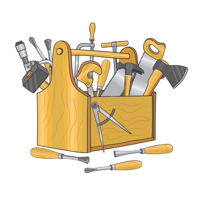 Drewniany pudełko dla ciesielek narzędzi Ręka rysująca wektorowa ilustracja ilustracji