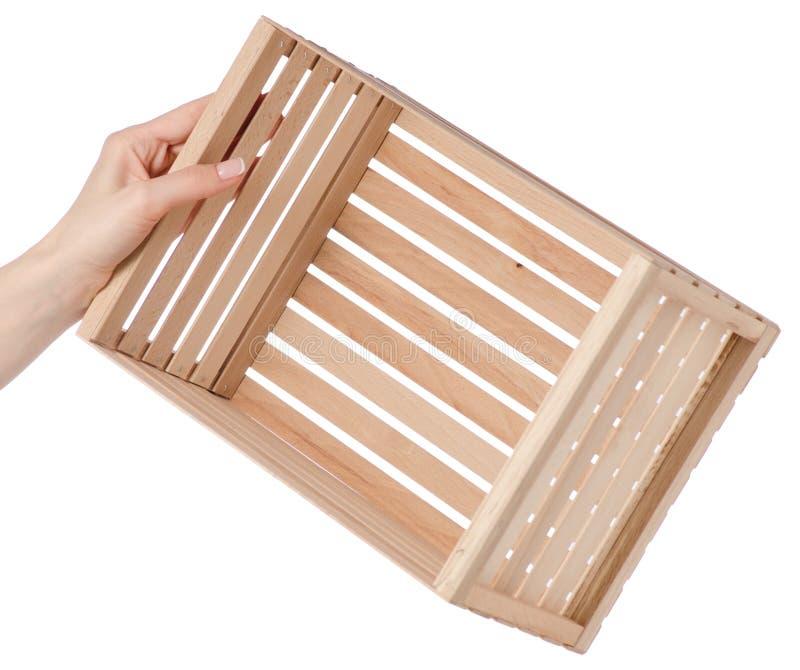 Drewniany pudełko w ręce obraz royalty free