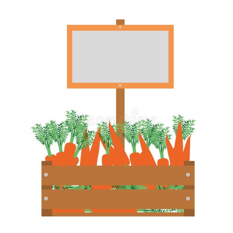 Drewniany pudełko z marchewki odosobnioną ikoną ilustracja wektor