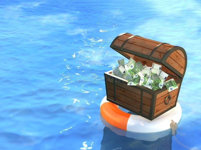 drewniany pudełkowaty lifebuoy pieniądze ilustracja wektor