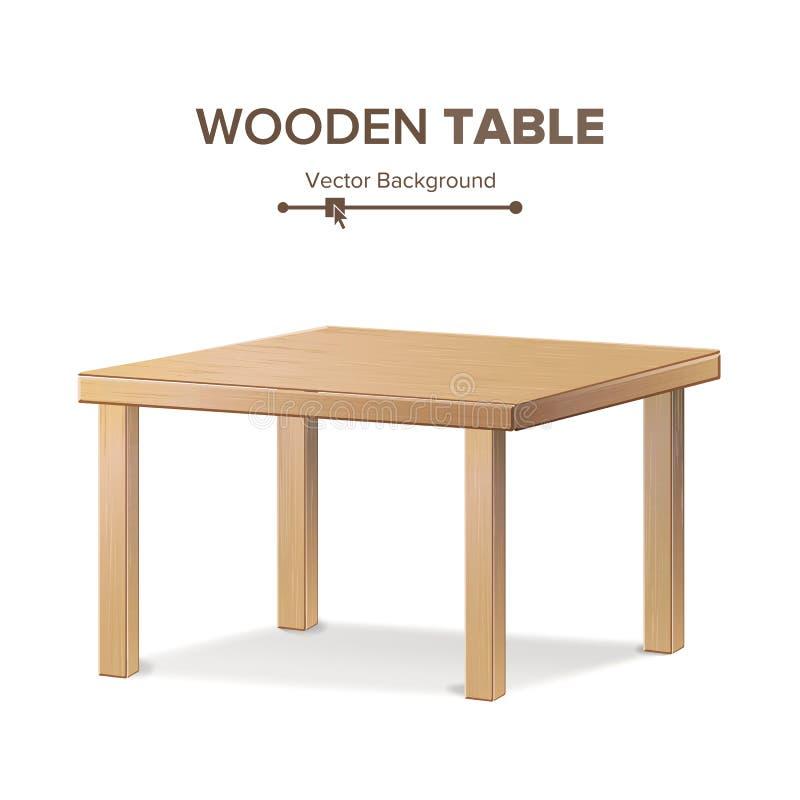 Drewniany Pusty kwadrata stół Odosobniony meble, platforma Realistyczna wektorowa ilustracja royalty ilustracja