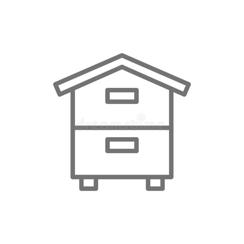 Drewniany rój, ul, pasieka, beekeeping kreskowa ikona ilustracji