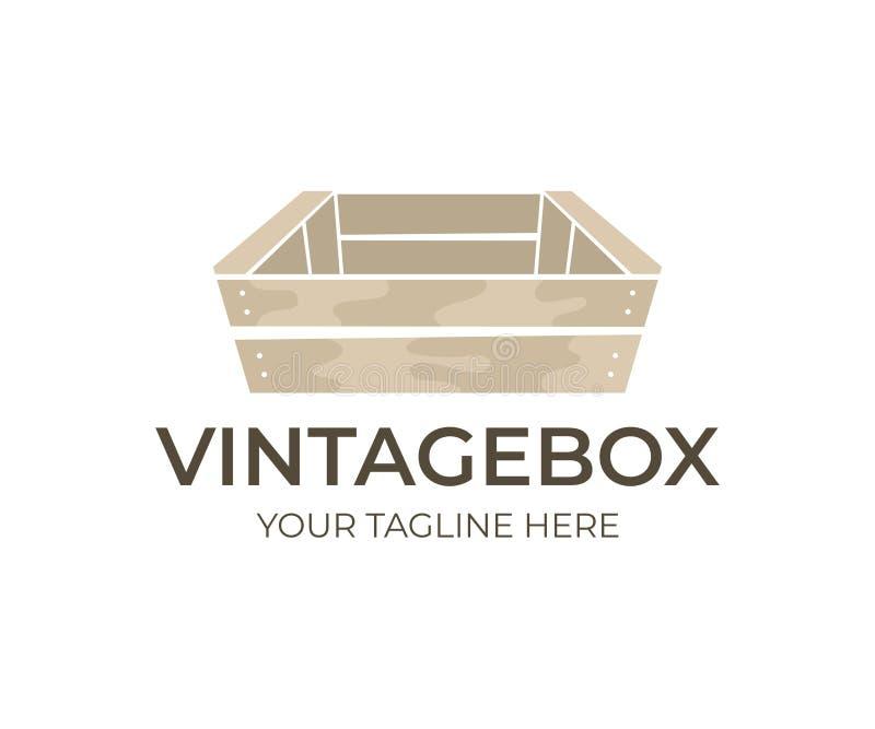 Drewniany rocznik i stary pudełko, loga projekt Drewniani pudełka dla jedzenia, owoc, warzywa i napoju transportu i magazynu, wek royalty ilustracja