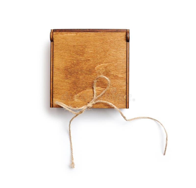Drewniany rocznika prezenta pudełko, odosobniona ścinek maska na białym tle, odgórny widok obraz stock