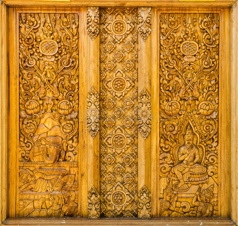 Drewniany rzeźbi Tajlandia obraz royalty free