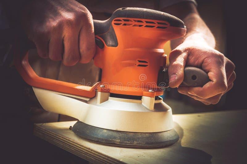 Drewniany Sanding proces zdjęcie stock