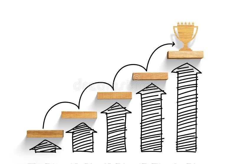 Drewniany schody dosięgać cel i wygrywać trofeum z przyrostowym wykresem i strzała obraz royalty free