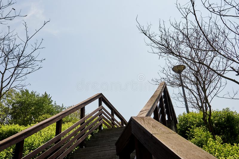 Drewniany schody iść w górę wzgórza przy Gwangkyo jeziora parkiem w korei południowej zdjęcie stock