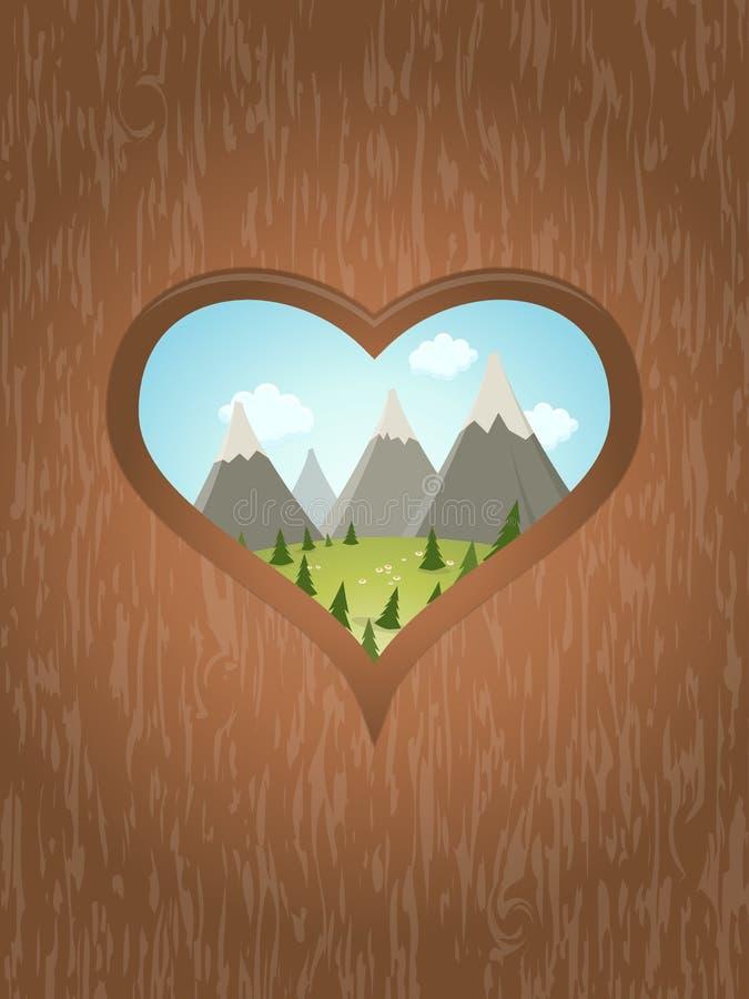 Drewniany serce z idyllicznym widokiem outside royalty ilustracja