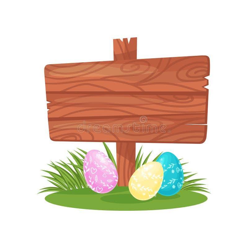 Drewniany signboard i śliczni ozdobni Wielkanocni jajka na zielonej trawie Wiosna wakacje Płaski wektor dla świątecznej pocztówki ilustracji
