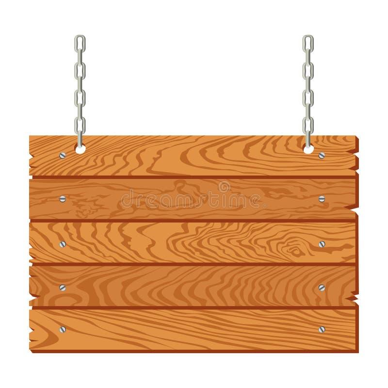 Drewniany signboard obwieszenie na łańcuchach odizolowywających r?wnie? zwr?ci? corel ilustracji wektora ilustracji