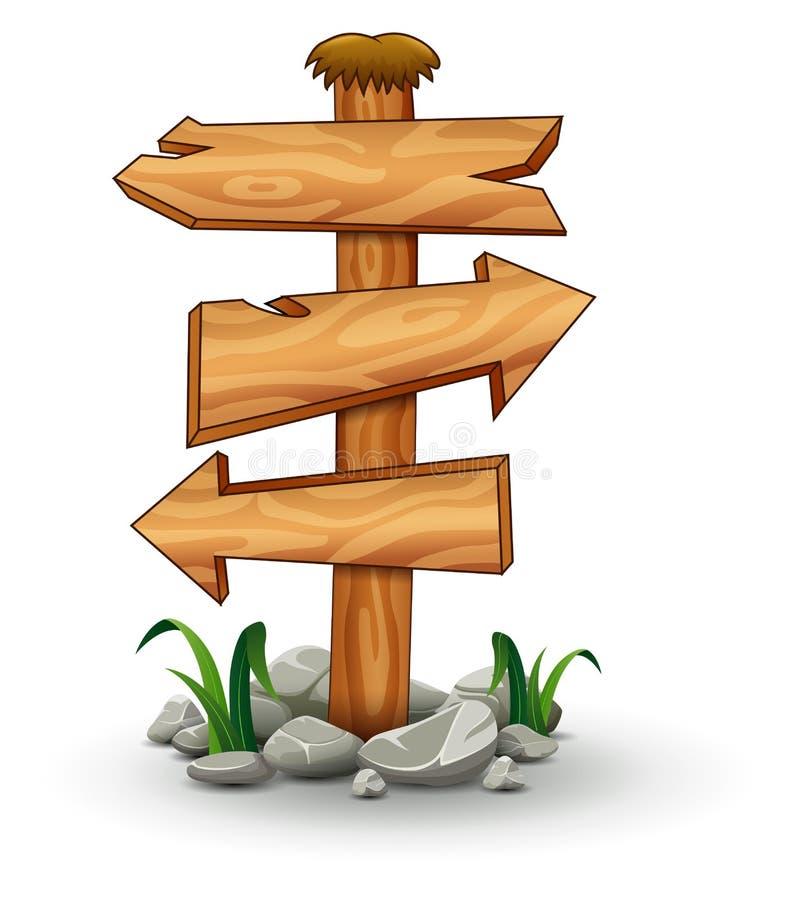 Drewniany signboard strzała znak ilustracja wektor