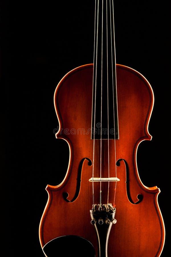 Drewniany skrzypce na czarnym tle obraz stock