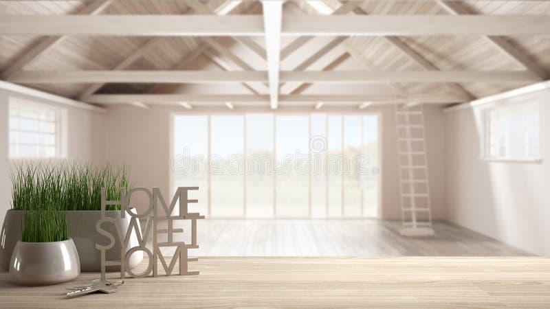 Drewniany stół, biurko, półka z doniczkową trawy rośliną, domów klucze lub 3D listy robi słowom domowemu cukierki domowi nad otwa ilustracja wektor