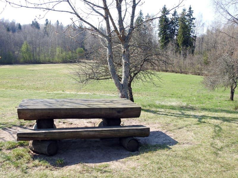 Drewniany stół i ławka w naturze, Latvia obraz stock
