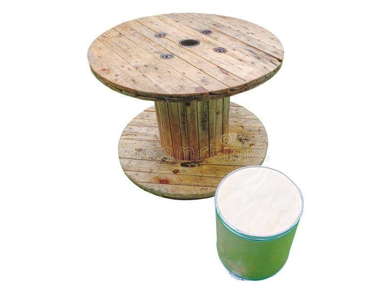 Drewniany stół robić Winch rolka Odizolowywająca na Białym tle zdjęcie royalty free