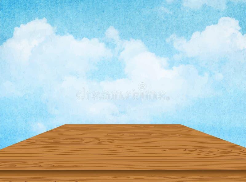 Drewniany stół z chmurą i niebieskim niebem wektor royalty ilustracja
