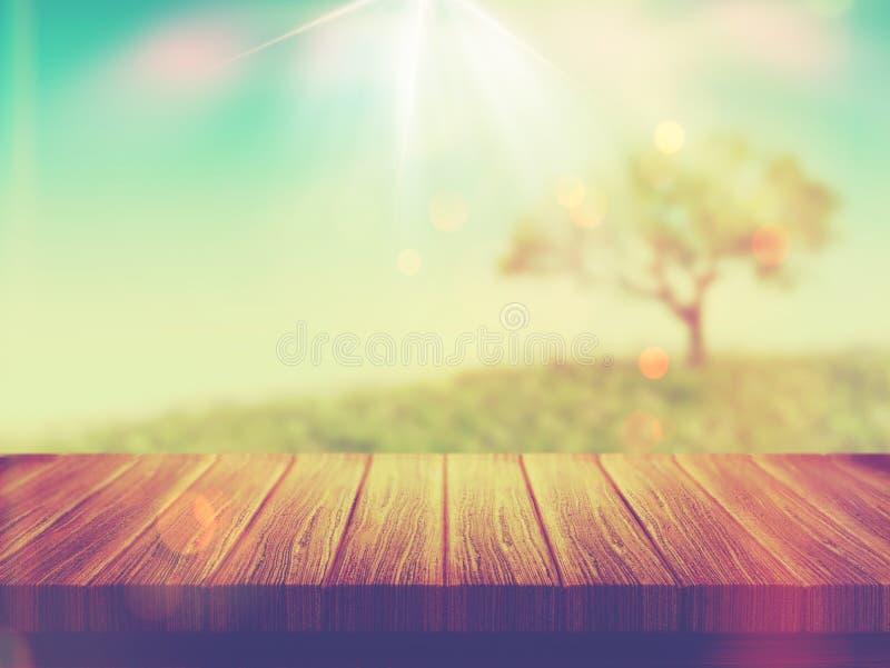 Drewniany stół z drzewo krajobrazem z rocznika skutkiem fotografia stock