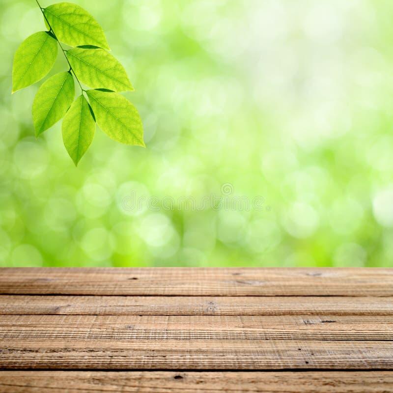 Drewniany stół z zielonym tłem obraz royalty free