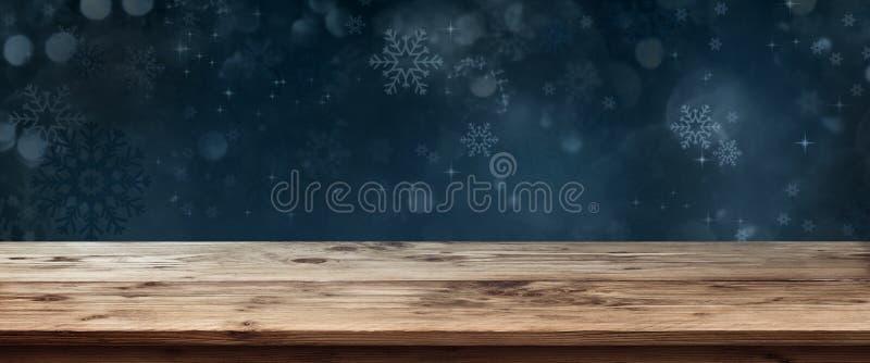 Drewniany stół z zmrokiem - błękitny zimy tło ilustracja wektor