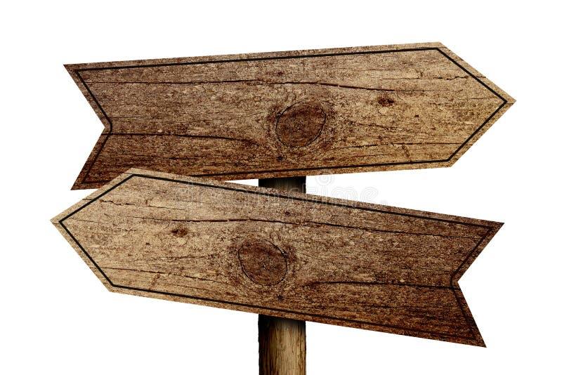 drewniany stary drogowy znak ilustracja wektor