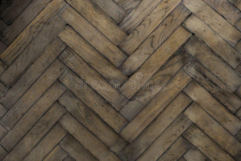 Drewniany stary podłogowy herringbone fotografia stock