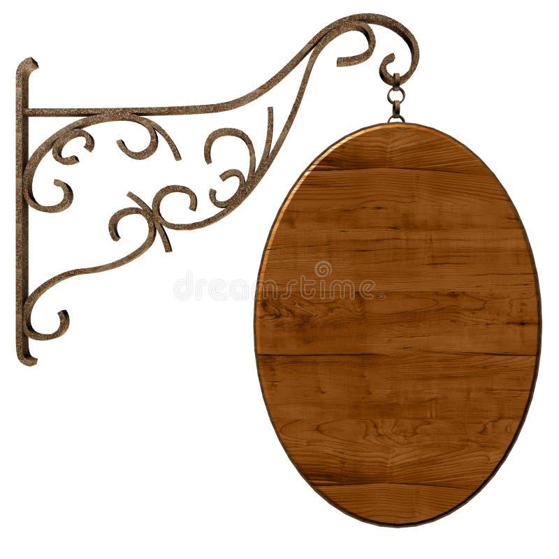 drewniany stary signboard ilustracja wektor