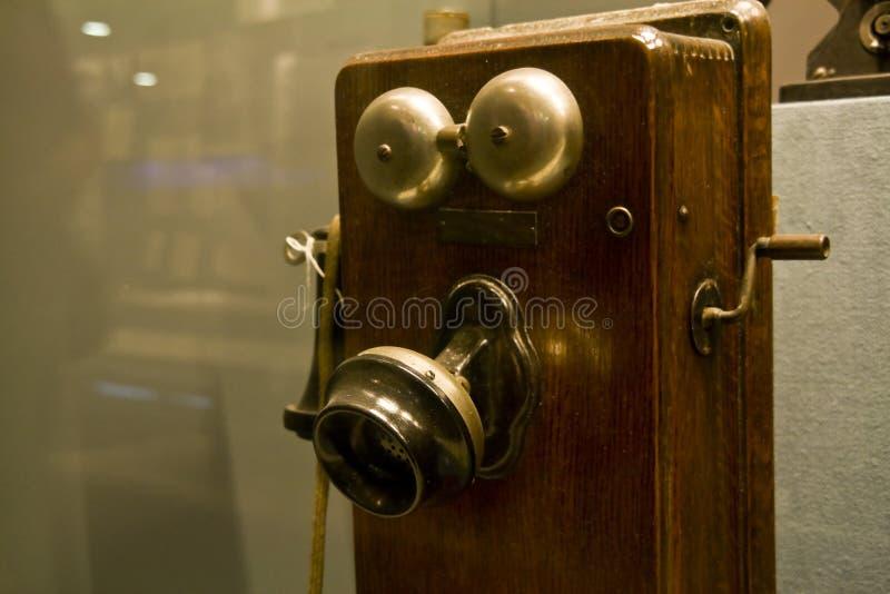 drewniany stary telefon fotografia stock