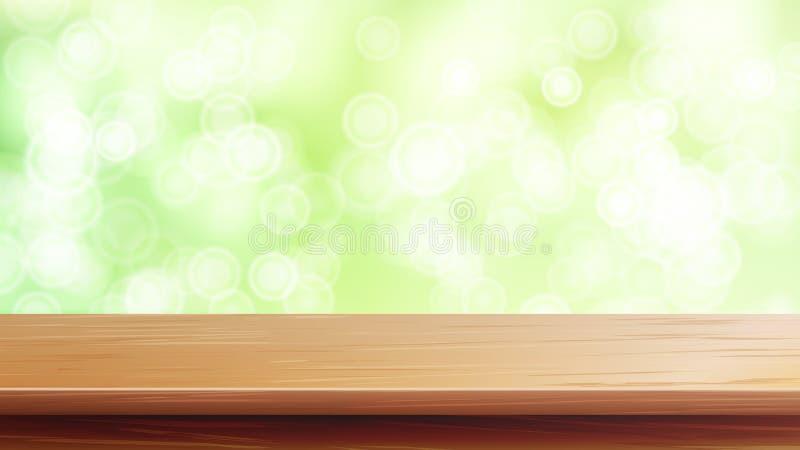 Drewniany Stołowego wierzchołka wektor Abstrakcjonistyczny ranku światło słoneczne Zamyka W górę Odgórnego Drewnianego stołu Abst ilustracja wektor