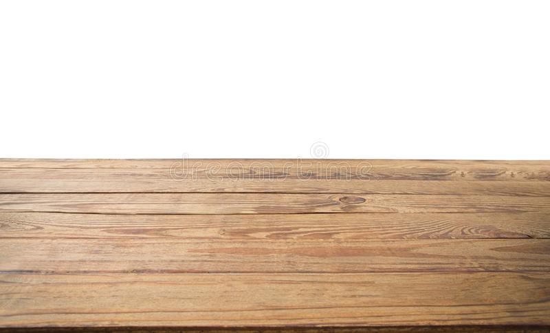 Drewniany stołowy tekstury tło odizolowywający na bielu Odbitkowa przestrzeń up i egzamin próbny Odgórny widok i szablon Sztandar obraz stock